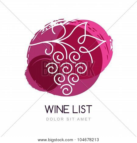Vector Illustration Of Linear Grape Vine In Watercolor Circle Splash. Logo Design Template. Concept
