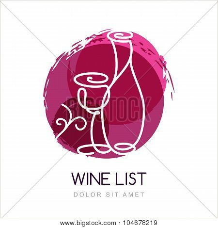 Vector Illustration Of Linear Wine Bottle And Glass In Watercolor Circle Splash. Logo Design Templat