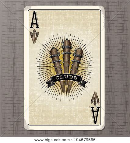 Vintage playing card. Ace of clubs with illustration of 3 primitive clubs and ribbon banner