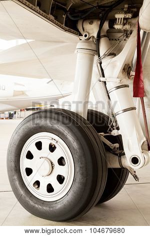 Detail Of The Wheel And Landing Gear On A Jet