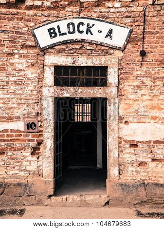Entrance door to the Block A at Terezin concentration camp