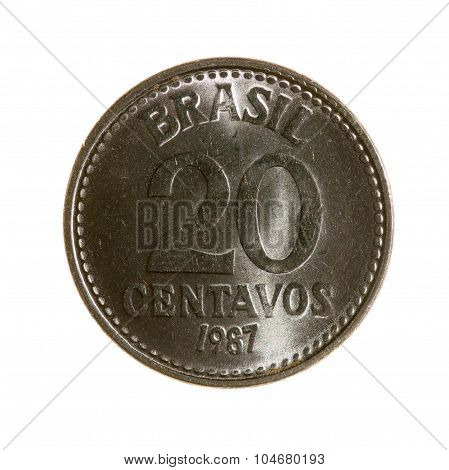 Twenty-centavo Coin Brazil Isolated On A White Background. Top View.