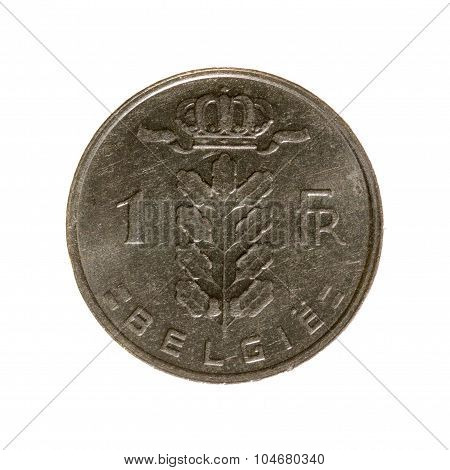 One Franc Coin Belgium Isolated On A White Background. Top View.