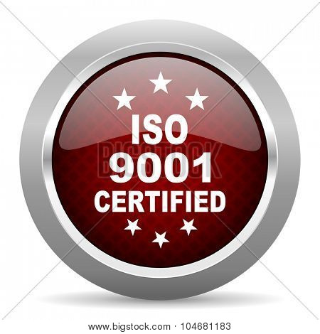 iso 9001 red glossy web icon