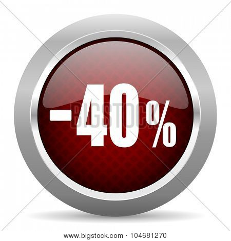 40 percent sale retail red glossy web icon