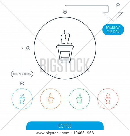 Coffee icon. Takeaway glass sign.