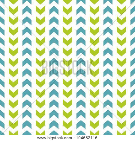 Tile vector pattern with blue and green zig zag on white background