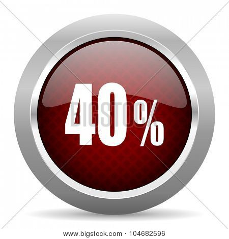 40 percent red glossy web icon