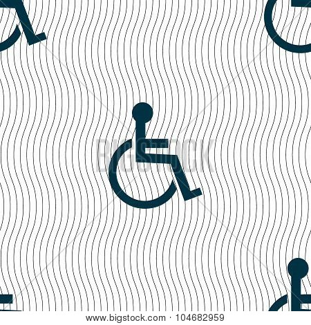 Disabled Sign Icon. Human On Wheelchair Symbol. Handicapped Invalid Sign. Seamless Pattern With Geom