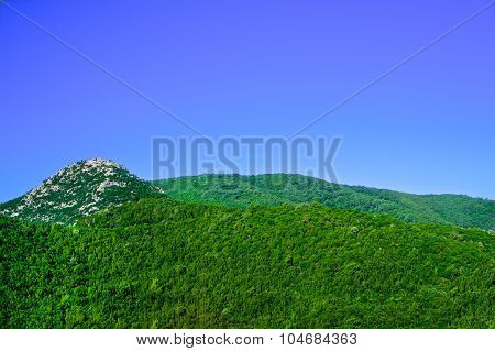 View of the Balkan Mountains in the summer in Montenegro