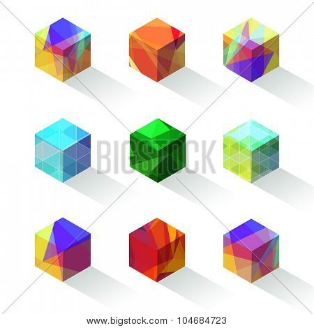 Refracting colorful vector cube icons.