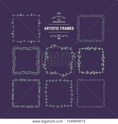 Hand Drawn Floral Decorative Borders