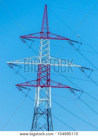 pylons of a power line. pylons for electricity.