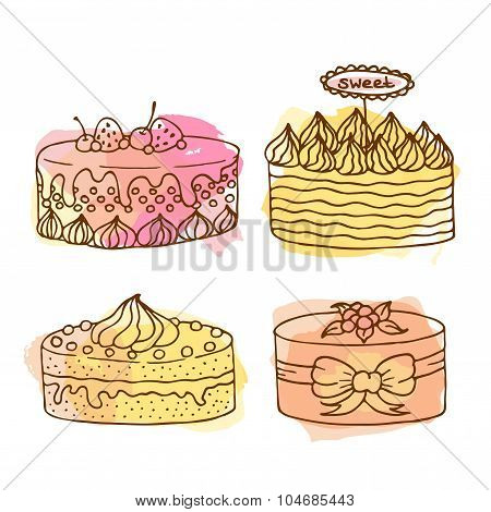 Vector Cake Illustration. Set Of 4 Hand Drawn Cakes With Colorful Watercolor Splashes. Cakes With Cr