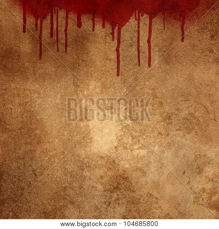 Bloody splats and drips on a grunge background