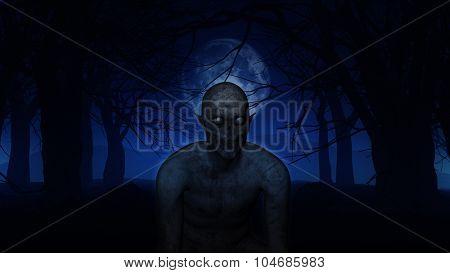 3D render of an evil demonic figure in spooky Halloween woods