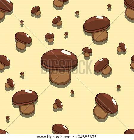 Seamless background edible mushroom