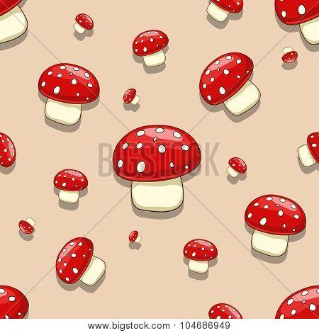 Seamless  amanita toxic mushroom
