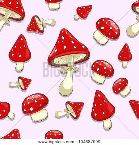Seamless background amanita toxic mushrooms