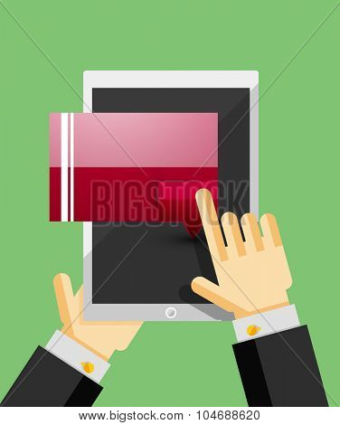 Businessman hands on mobile tablet with web dialog box. Communication, mobility or internet service concept