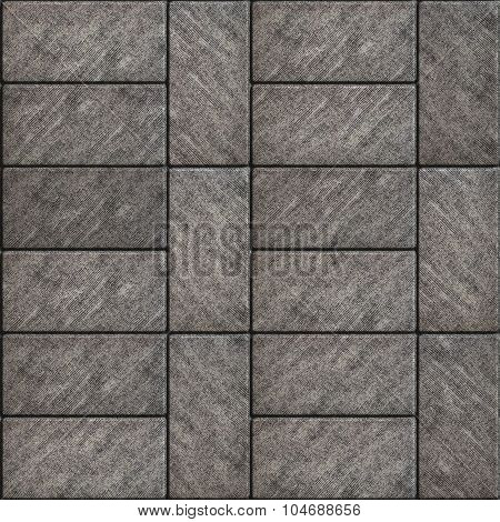 Rectangular Gray Scuffed Paving Slabs.