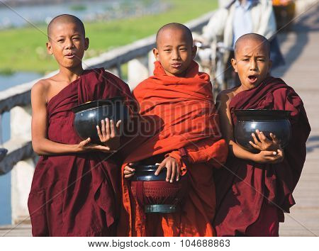 Three Boys Buddhist Monks