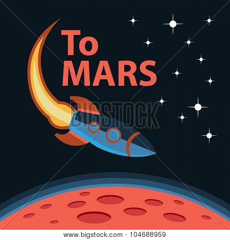 Creative design concept space mission. Journey to Mars
