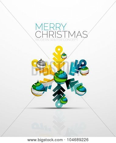 Merry Chrismas snowflake decorated with balls, holiday concept symbol. Element of greeting card.