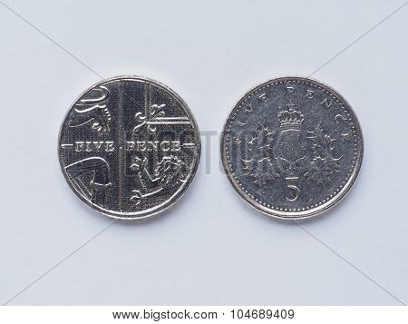 Uk 5 Pence Coin