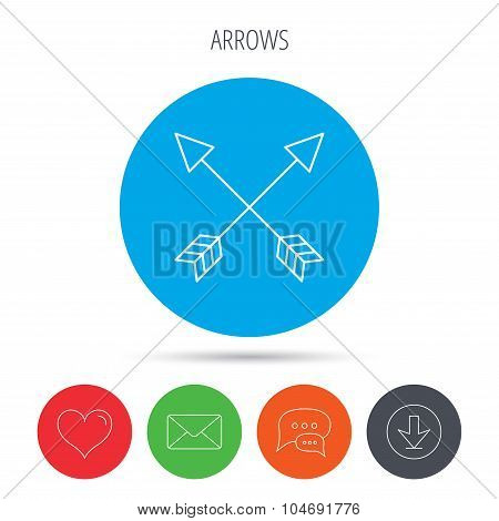Bow arrows icon. Hunting sport equipment sign.