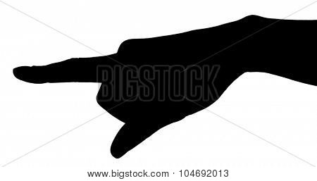Silhouettes of hand, isolated on white