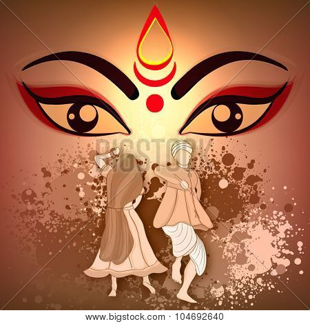 Creative illustration of Goddess Durga with traditional Indian couple dancing and enjoying on occasion of Happy Dussehra celebration.