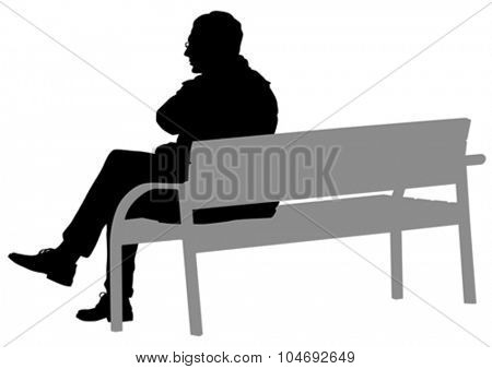 Man with glasses on a bench on a white background