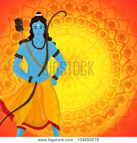 Creative illustration of Lord Rama with bow and arrow on shiny floral design decorated background for Indian festival, Happy Dussehra celebration.