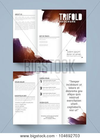 Stylish Two page Business Trifold, Flyer, Banner or Template with front and inner presentation.