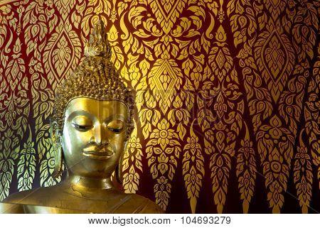 Face Of Golden Buddha In Wat Phanan Choeng,Ayutthaya,Thailand.