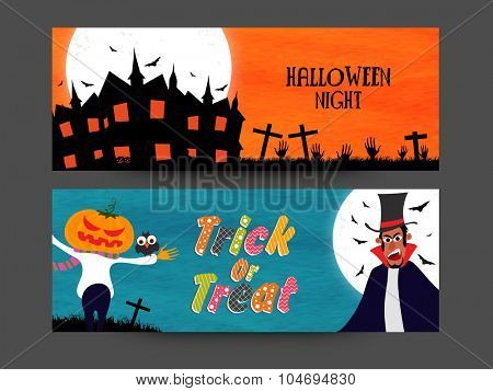 Creative website header or banner set with haunted house and scary zombie for Halloween Night celebration.
