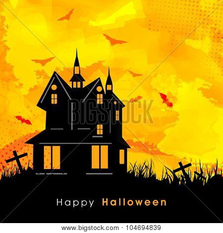 Scary haunted house on stylish background for Happy Halloween Party celebration.