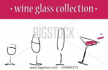Vector set of hand drawn wine glasses