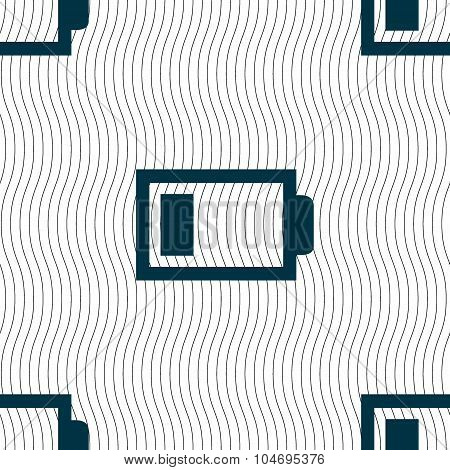 Battery Low Level Sign Icon. Electricity Symbol. Seamless Pattern With Geometric Texture. Vector
