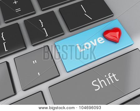 3D Computer Keyboard With Love Button And Heart.