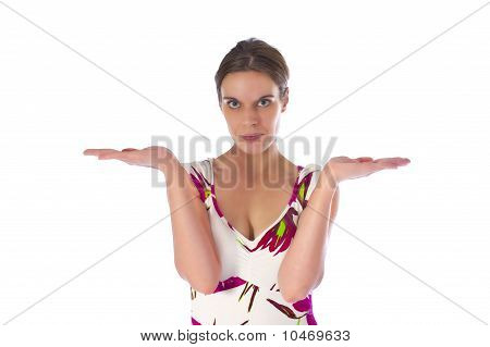 Portrait Of A Pretty Young Woman Gesturing With Her Hands