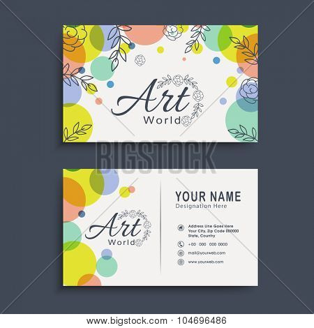 Creative two sided, horizontal business card, name card or visiting card set with colorful abstract design.