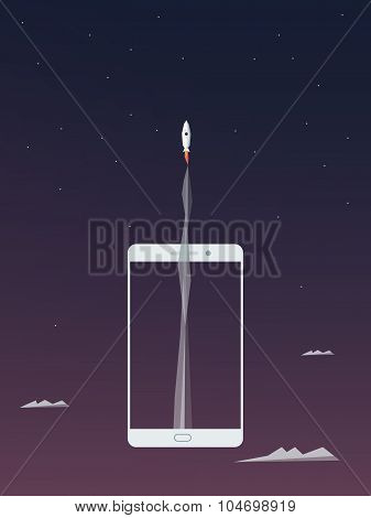 High speed mobile internet vector background. Astronaut flying to space from smartphone.