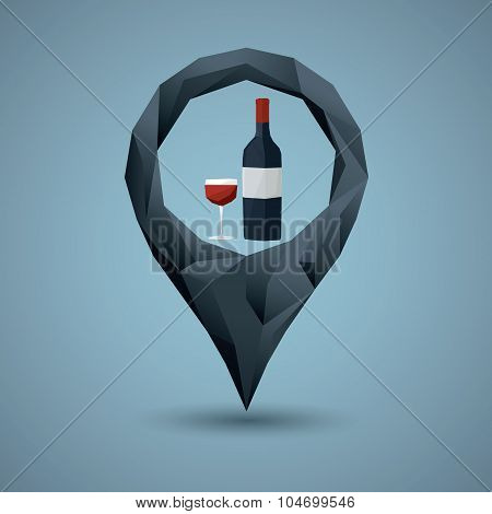 Wine bottle and glass with navigation pin. Low poly icon concept for bar, pub or restaurant. Alcohol