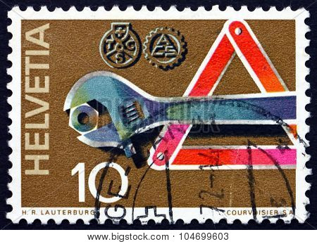 Postage Stamp Switzerland 1969 Wrench, Road Sign