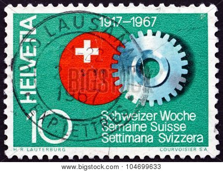 Postage Stamp Switzerland 1967 Cogwheel And Swiss Emblem
