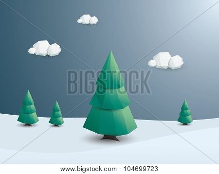 Winter landscape vector background. Low poly nature wallpaper with green trees and snowy scenery.
