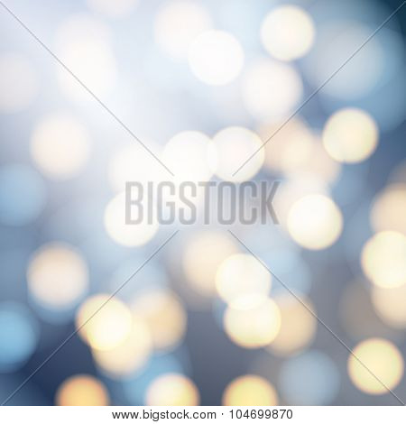 Vector abstract bokeh background. Festive defocused lights.
