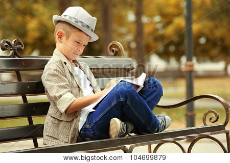 Little boy reading book on bench in the park